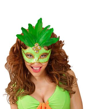 Benátská maska s flitry a peřím zelená