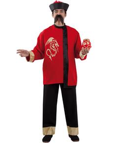 Disfraz de chino mandarín rojo y negro para hombre