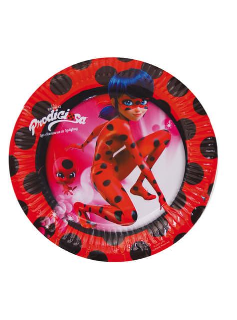 8 assiettes à dessert Miraculous, les aventures de Ladybug et Chat Noir 18 cm