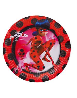 Sæt med 8 Tales of Ladybug & Cat Noir dessert tallerkner, der måler 18 cm