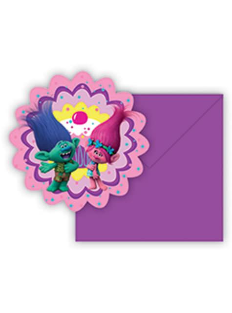 Conjunto de 6 convites Trolls