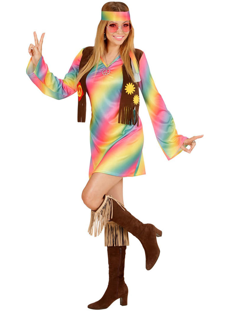 Woman's Rainbow Hippy Costume. Buy on Funidelia at the ...