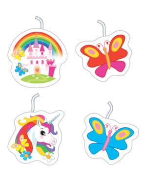 Set 4 candele Unicorno - Rainbow Unicorn
