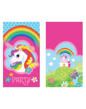 8 Convites Unicórnio - Rainbow Unicorn