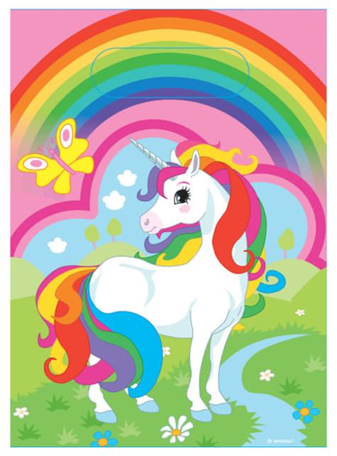 8 Unicorn Party Bags - Rainbow Unicorn