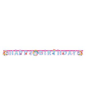 Cartaz Happy Birthday Unicórnio - Rainbow Unicorn