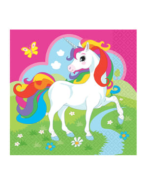 20 servilletas de unicornio (33x33cm) - Rainbow Unicorn
