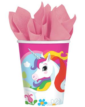 8 copos Unicórnio - Rainbow Unicorn