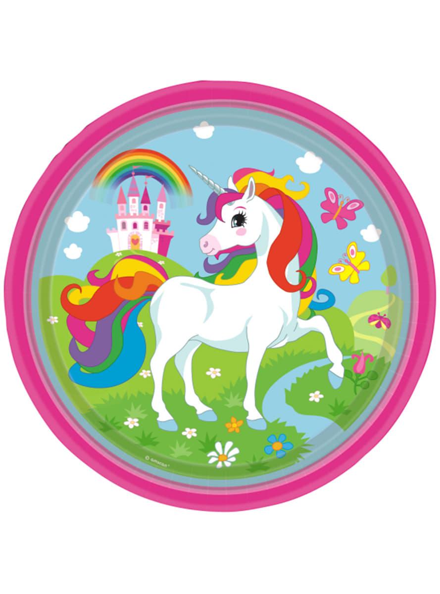 Set de 8 platos unicornio 23 cm para fiestas funidelia for Set de platos
