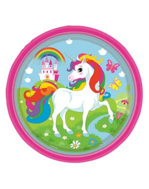 8 tallrikar Enhörning 23 cm -  Rainbow Unicorn