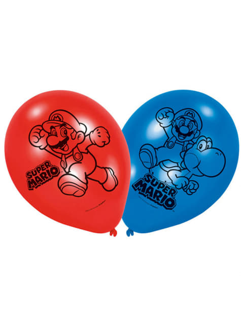 Conjunto de 6 balões Super Mario Bros azul e vermelho