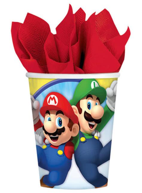 Conjunto de 8 copos Super Mario Bros