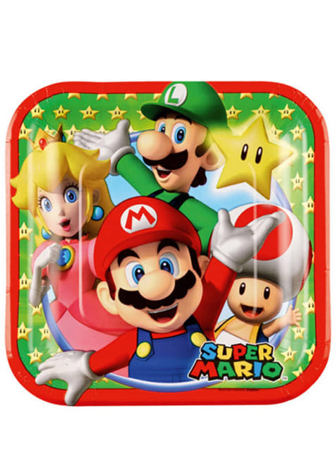 Set de 8 platos de postre Super Mario Bros 18 cm