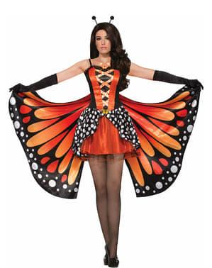 Disfarce de borboleta-monarca para mulher