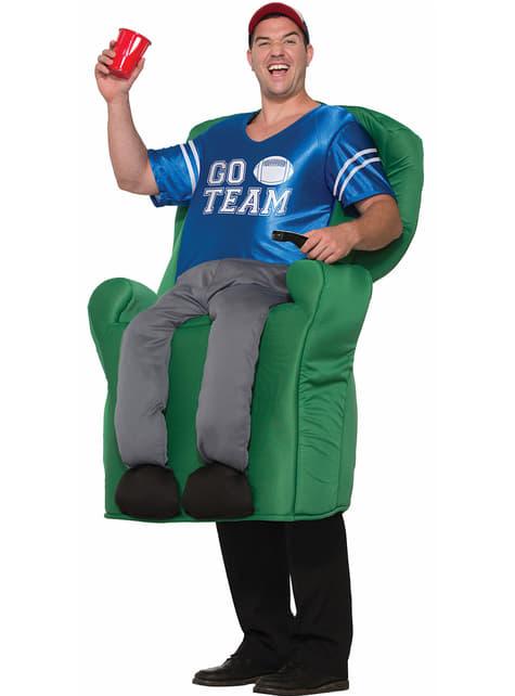 Disfraz de viendo el partido en el sofá para adulto