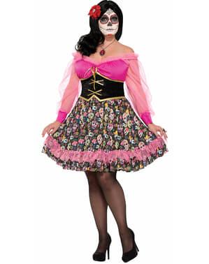 Costum Catrina ziua morților pentru femeie mărime mare