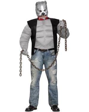Costume da pitbull motociclista per uomo taglie forti