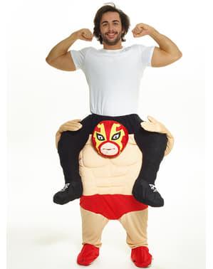 Maskeraddräkt jag är wrestlingmästare Piggyback för vuxen