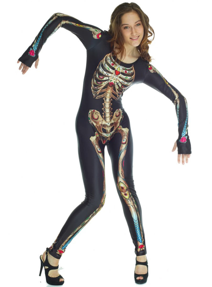 skelett catrina morphsuits kost m f r damen funidelia. Black Bedroom Furniture Sets. Home Design Ideas