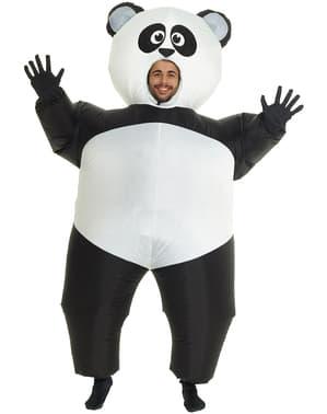 Fato de urso panda insuflável para adulto