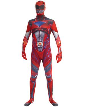 Aikuisten punainen Power Ranger elokuva morphsuit asu