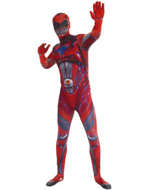 Възрастен Червен Power Рейнджър Филм Morphsuit костюм