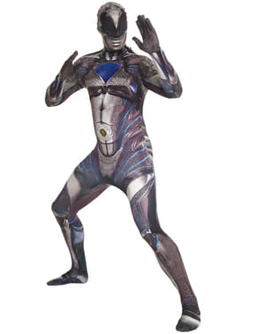 Aikuisten musta Power Ranger elokuva morphsuit asu