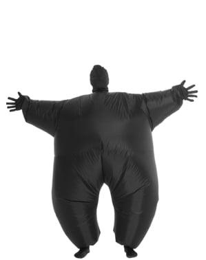 Opblaasbaar pak in zwart en lichtgevend Kostuum voor volwassenen