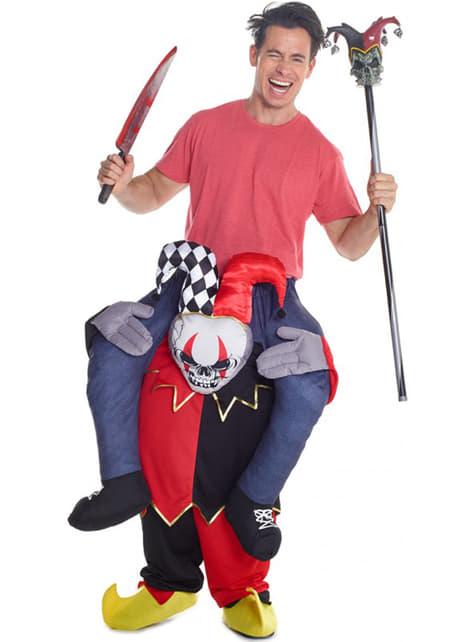 Dansende clown Draag me kostuum op schouders van harlekijn