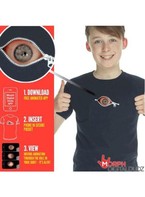 Camiseta con ojo inquietante cremallera infantil