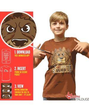 T-shirt med sulten bjørn til børn