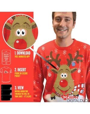 Pull-over de renne Rudolphe curieux adulte