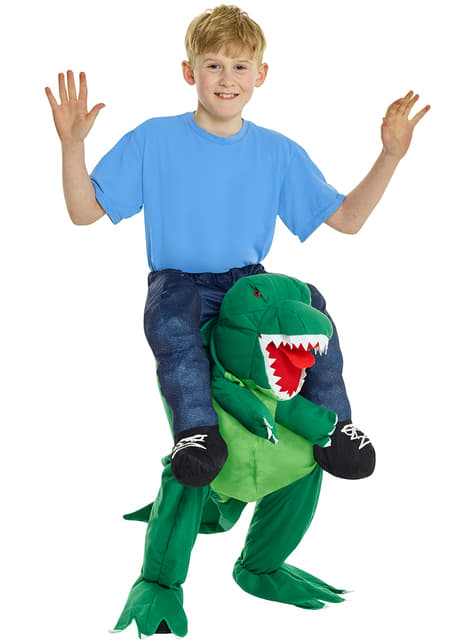 Kids On The Shoulders Of A T-Rex Costume