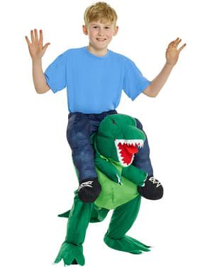 Otrok na rami T-Rex kostuma