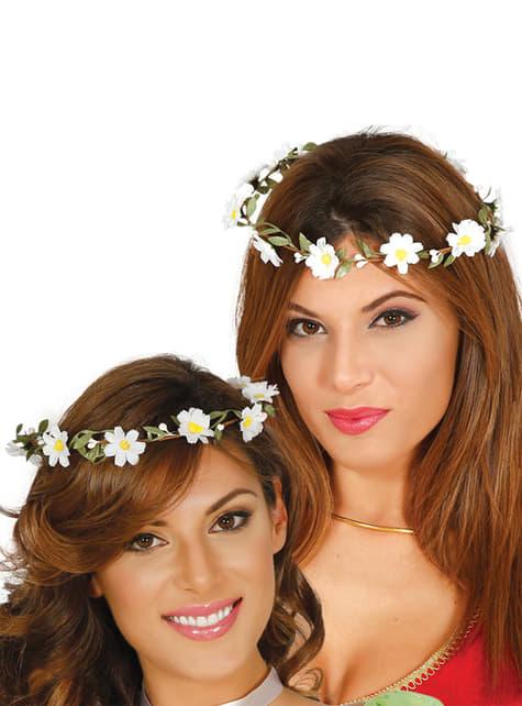 Coroa de flores branca para mulher