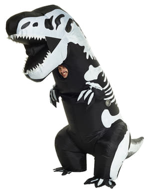 Opblaasbaar dinosaurus T-Rex skelet kostuum voor volwassenen
