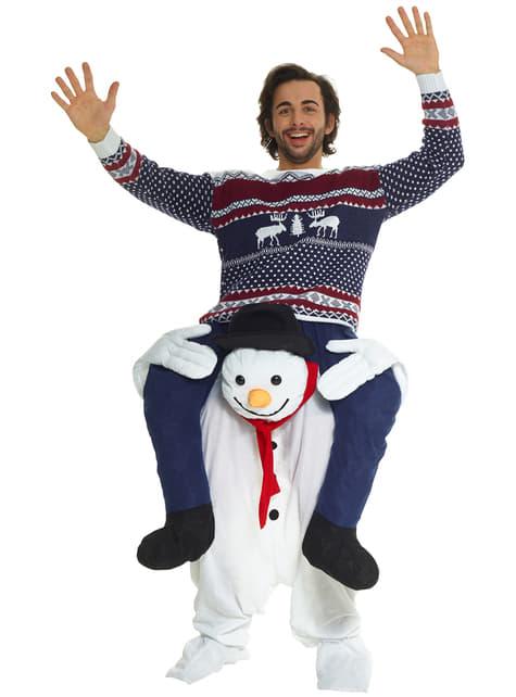 Disfraz a hombros de muñeco de nieve para adulto