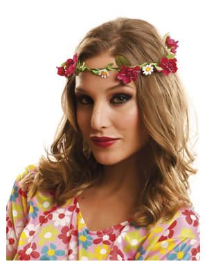 Corona hippie con fiori rossi