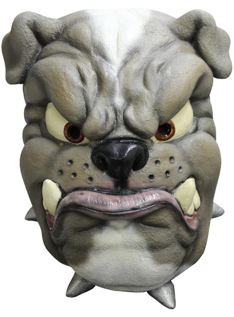Máscara de bulldog de látex para adulto