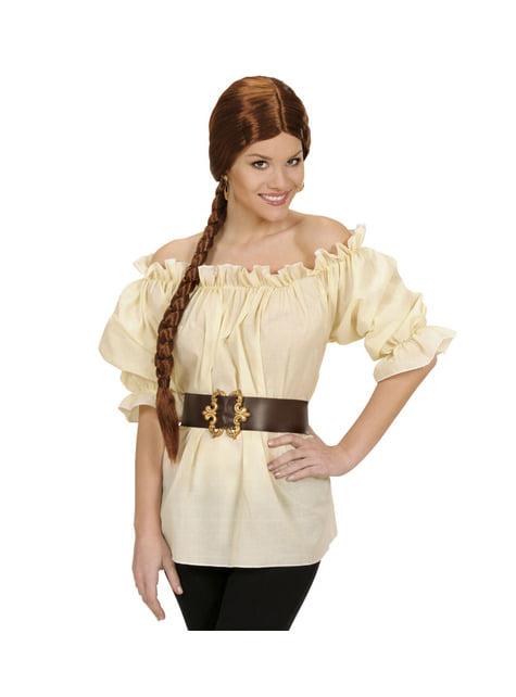 Camisa pirata beige para mujer talla grande - mujer