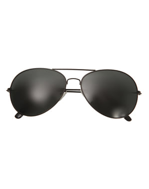 Adults Black Aviator Glasses