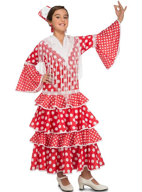 Fato de flamenca sevilhana para menina
