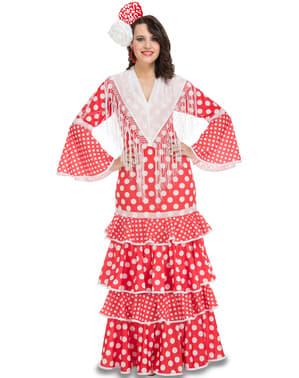 Rød Flamenco Kostyme for Dame