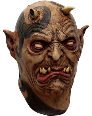 Máscara de demonio tatuado de látex para adulto