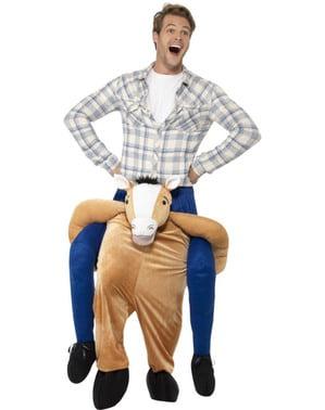 Disfraz a hombros de caballo feliz