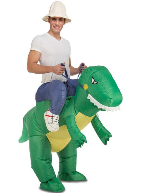 Fato de dinossauro domado insuflável para adulto