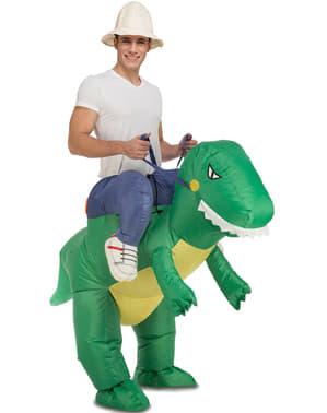 Fato às costas de dinossauro insuflável