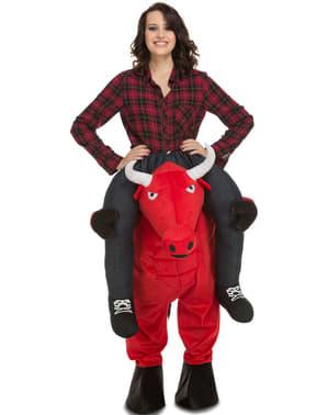 Kostým piggyback červený býk na chrbte
