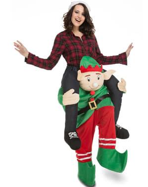 Déguisement lutin de Noël porte-moi adulte