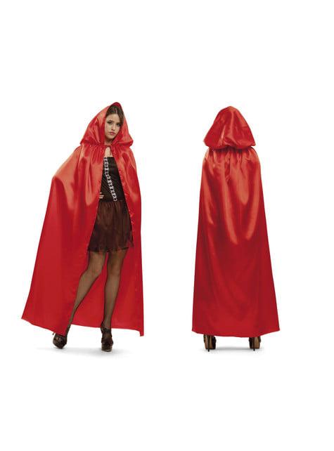 Capa roja brillante con capucha para adulto - original
